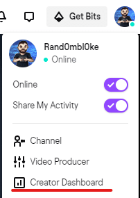 Twitch user profile menu showing the Creator Dashboard option